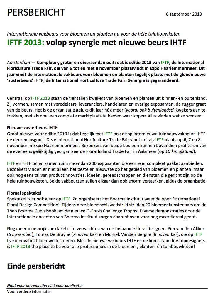 IFTF-persbericht
